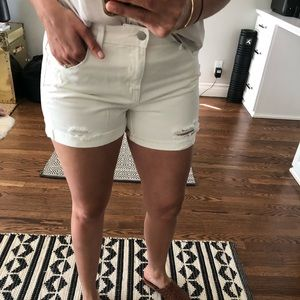 Mossimo Supply Co. Shorts - White denim distressed shorts size 6/28